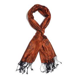 SILK MARK - 100% Superfine Silk Orange, Black and Multi Colour Jacquard Scarf with Fringes (Size 180
