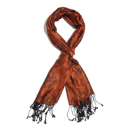 SILK MARK - 100% Superfine Silk Orange, Black and Multi Colour Jacquard Scarf with Fringes (Size 180