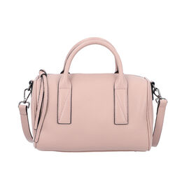 Sencillez Solid Dusty Pink 100% Genuine Leather Convertible Bag with Zipper Closure