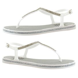 Ella Winnie Diamante Toe Post Sandals in White Colour