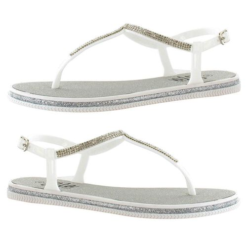 Ella Winnie Diamante Toe Post Sandals (Size 4) - White