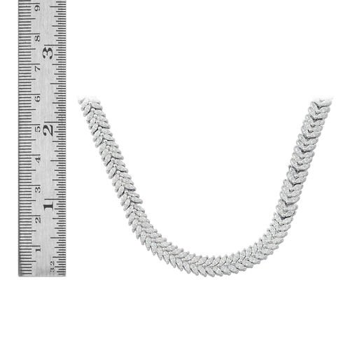 Designer Inspired- ELANZA Simulated White Diamond (Mrq) Necklace (Size 17) in Rhodium Plated Sterling Silver, Silver Wt 36.10 Gms.