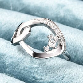 LucyQ Fluid Collection - Moissanite Ring in Rhodium Overlay Sterling Silver