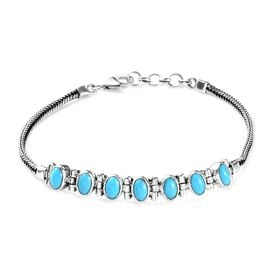 Artisan Crafted Arizona Sleeping Beauty Turquoise (Ovl) Foxtail Chain Bracelet (Size 7.5) in Sterlin