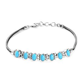 3.07 Ct Sleeping Beauty Turquoise Foxtail Chain Bracelet in Silver 8.22 Grams 7.5 Inch
