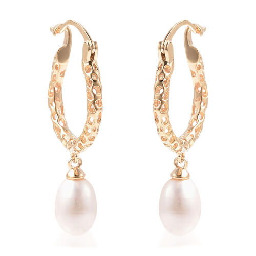 RACHEL GALLEY Lattice Collection - Freshwater White Pearl Drop Hoop Earrings (with Clasp) in Yellow
