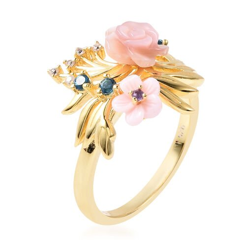 Jardin Collection - Pink Mother of Pearl, London Blue Topaz and Multi Gemstone Floral Ring in Yellow Gold Overlay Sterling Silver
