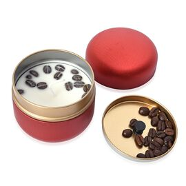 Coffee Scented Candle in Metal Container with Gift Box (Size 9x8 Cm) Made With Soybean Wax - Red