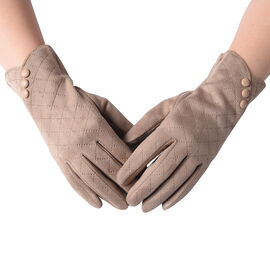 Checkered Pattern Gloves with Button (Size 9x23cm) - Khaki