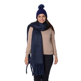 2 Piece Set - 1 Knitted Pompom Hat (Size 22x14 Cm) and 1 Scarf with Tassels (Size 40x200 Cm) - Navy