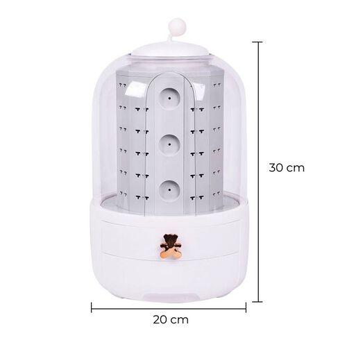 New Concept- 360 Degree Rotataing Swivel Jewellery Organizer (30x20cm) - White
