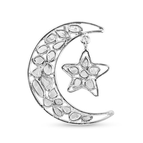 Artisan Crafted Polki Diamond Moon and Star Pendant with Chain (Size 18) in Platinum Overlay Sterlin