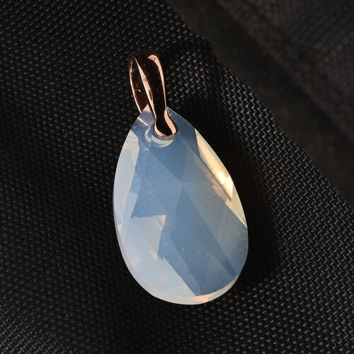 J Francis - Crystal From Swarovski - Swarovski White Opal Crystal (Pear 28x8) Solitaire Pendant in Rose Gold Overlay Sterling Silver