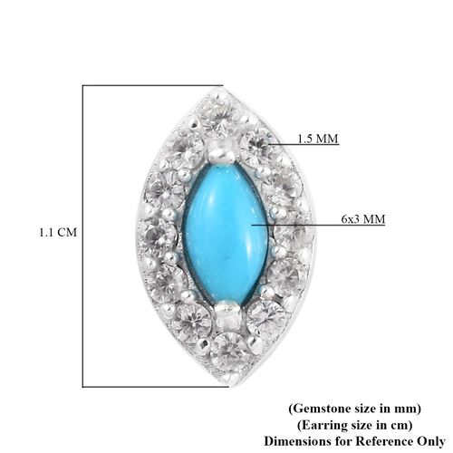 Arizona Sleeping Beauty Turquoise and Natural Cambodian Zircon Stud Earring in Platinum Overlay Sterling Silver 1.00 Ct.