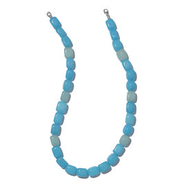One Time Deal- Aquamarine Colour Quartzite (Cube 455.00 Ct) Necklace (Size 20) in Platinum Overlay Sterling Silver 550.000  Ct.