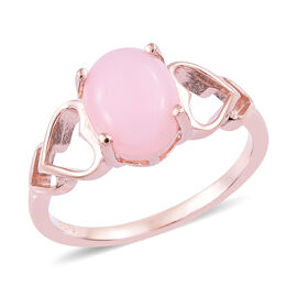 1.50 Carat Peruvian Pink Opal Solitaire Ring in Sterling Silver Grams