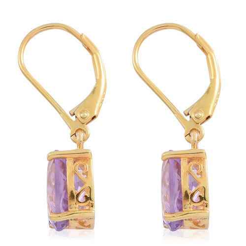Rose De France Amethyst (Ovl) Lever Back Earrings in 14K Gold Overlay Sterling Silver 4.500 Ct.