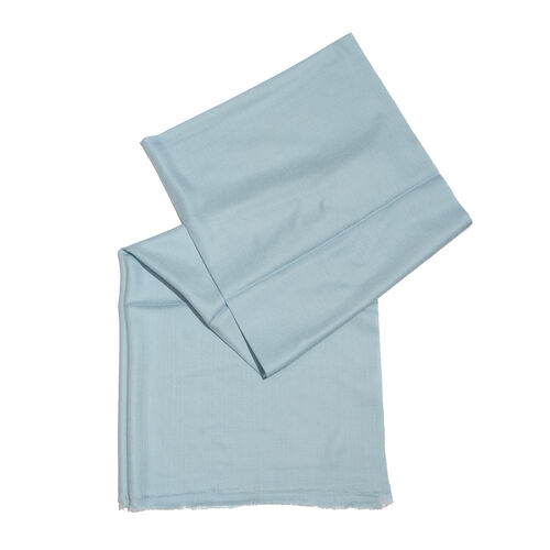 100% Cashmere Wool Sky Blue Colour Shawl with Fringes (Size 200X70 Cm)
