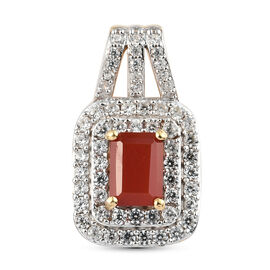 Salamanca Fire Opal and Natural Cambodian Zircon Pendant in Gold Overlay Sterling Silver 1.70 Ct.