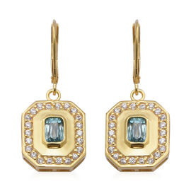 Ratanakiri Blue Zircon and Natural Cambodian Zircon Lever Back Earrings in Yellow Gold Overlay Sterl