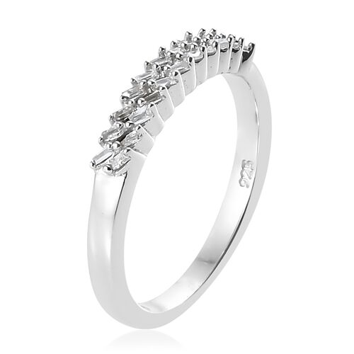 Diamond (Bgt) Two Row Band Ring in Platinum Overlay Sterling Silver 0.100 Ct.