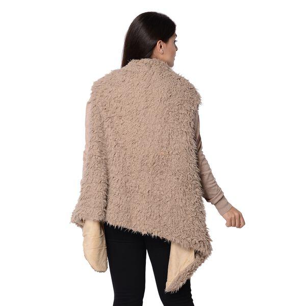 Faux Fur Sleeveless Vest (Size 65x65 Cm) - Coffee Colour