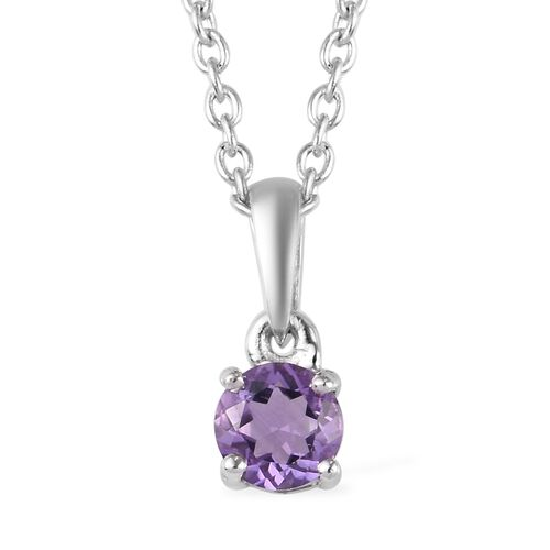 3 Piece Set -  Amethyst Pendant with Chain (Size 18) and Stud Earrings (with Push Back) in Platinum Overlay Sterling Silver 1.40 Ct.