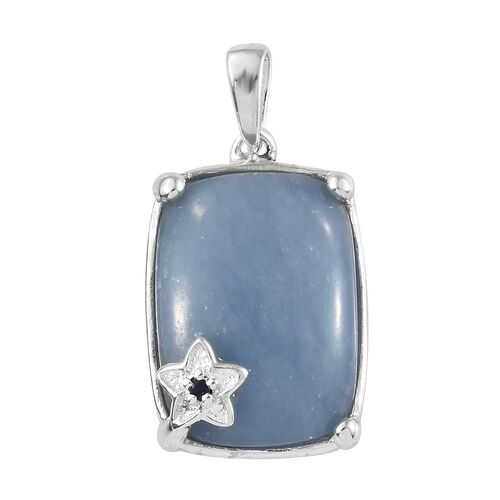 Mexican Angelite (Cush 18x13 mm), Kanchanaburi Blue Sapphire Pendant in Sterling Silver 12.500 Ct.