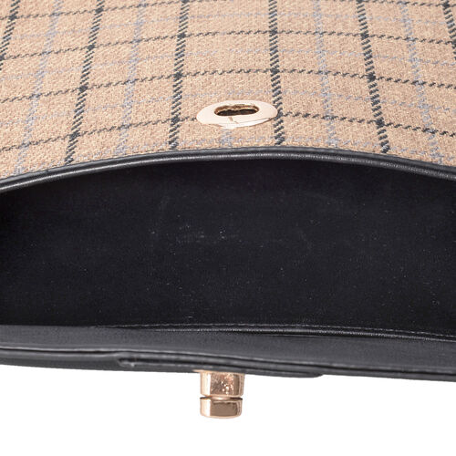 Super Chic Beige and Black Wool Checkers Look Cross Body Bag (Size 27.5x19x9 Cm)