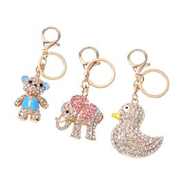 Set of 3 - Multi Colour Austrian Crystal Teddy Bear, Duck and Elephant Key Chain in Gold Tone