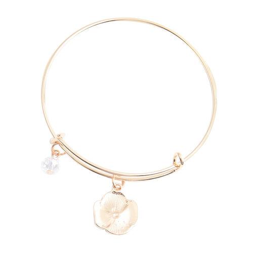 TJC Poppy Design - White Austrian Crystal and Simulated Diamond Enamelled Bracelet (Size 7.5)