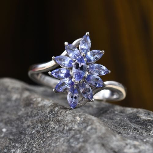 Tanzanite (Mrq) Floral Ring in Platinum Overlay Sterling Silver 0.90 Ct.