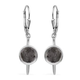 6 Carat Meteorite Solitaire Drop Earrings in Platinum Plated Sterling Silver