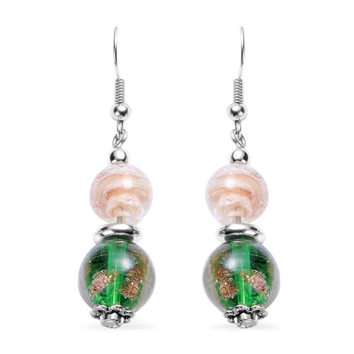 3 Piece Set - Green and White Murano Beads Hook Earrings, Necklace(Size 23 with Extender) and Bracelet (Size 6.5-7) in Stianless Steel
