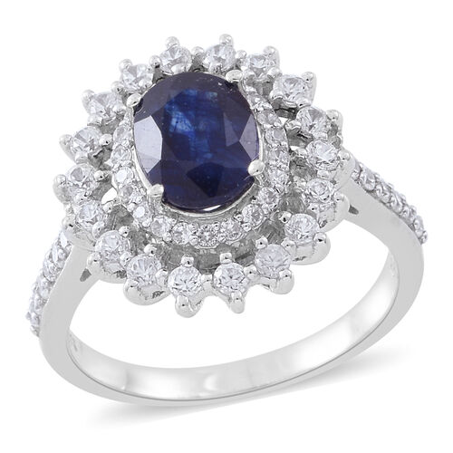 Masoala Sapphire (Ovl 2.80 Ct), Natural White Cambodian Zircon Ring in Rhodium Plated Sterling Silve
