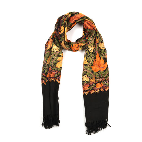 100% Fine Merino Wool Multi Colour Flowers Embroidered Black Colour Shawl (Size 180x70 Cm)