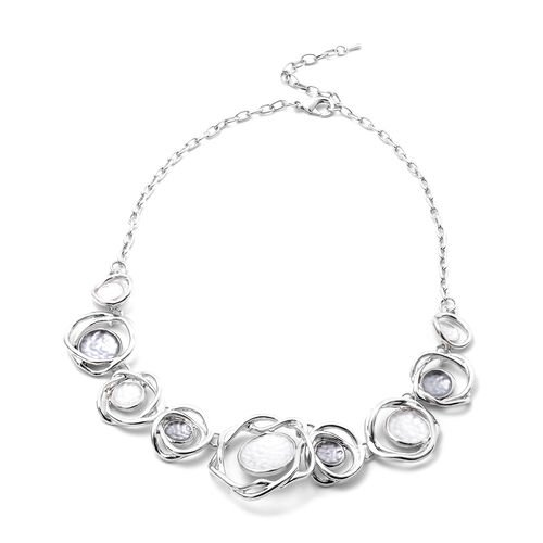 2 Piece Set - Enamelled Necklace (Size 20 with 2 inch Extender) and Earrings (with Push Back) in Silver Tone