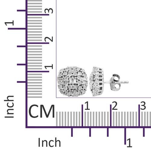 GP Diamond (Bgt and Rnd), Kanchanaburi Blue Sapphire Stud Earrings (with Push Back) in Platinum Overlay Sterling Silver 0.560 Ct.