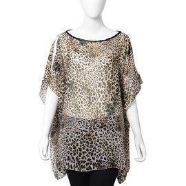 Designer Inspired-Beige Sheer Leopard Print Pattern Apparel (Size 71x94 Cm)