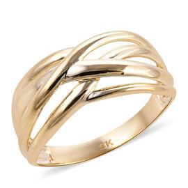 Designer Inspired- 9K Yellow Gold Criss Cross Ring
