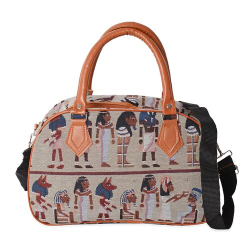 Beige and Multi Colour Egyptian Wall Painting Pattern Tote Bag (Size 35x23x13.5 Cm) with handle drop and shoulder strap