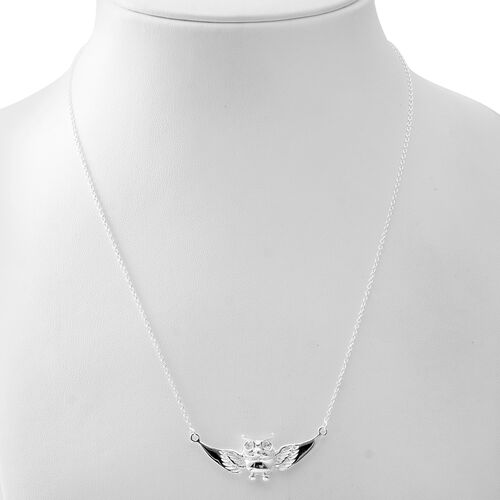 Sterling Silver Owl Necklace (Size 20), Silver wt 7.56 Gms.