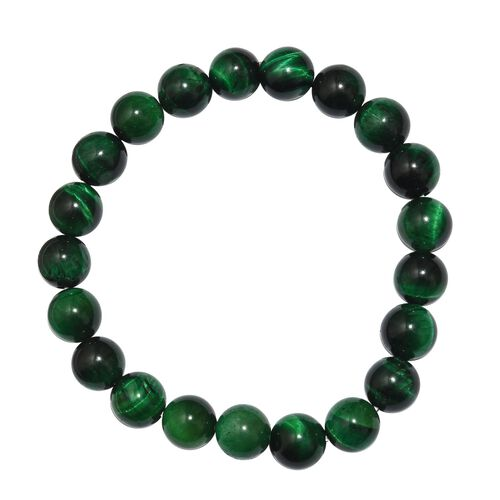 Green Tiger Eye Stretchable Beaded Bracelet 7.5 Inch