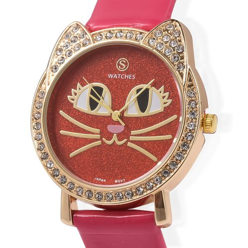 STRADA Japanese Movement White Crystal Studded Water Resistant Kitty Face Red Stardust Dial Watch with Fuchsia Strap