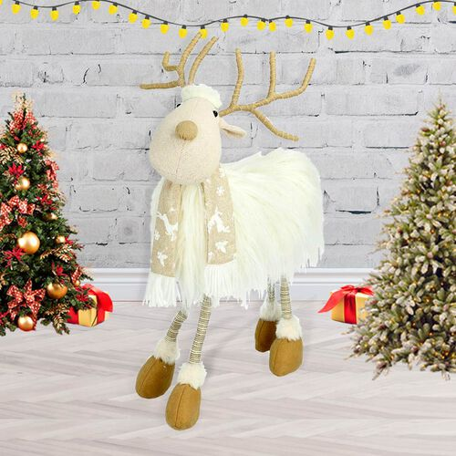 Christmas Decoration - White Reindeer (Size 50cm)