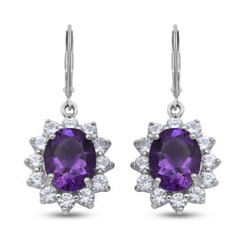 Lusaka Amethyst and Natural Cambodian Zircon Floral Halo Drop Lever Back Earrings in Rhodium Overlay