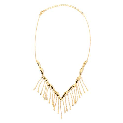 LucyQ Rain Necklace (Size 16 and 4 inch Extender) in Yellow Gold Overlay Sterling Silver, Silver wt 21.93 Gms