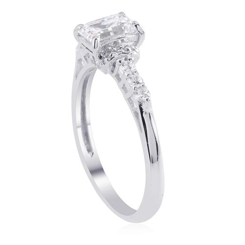 J Francis - Platinum Overlay Sterling Silver (Oct) Ring Made with SWAROVSKI ZIRCONIA 1.432 Ct.