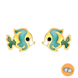 Fish Stud Earrings (with Push Back) for Kids in 9K Yellow Gold