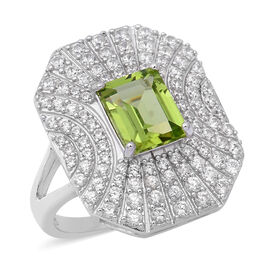 Hebei Peridot (Oct), Natural Cambodian White Zircon Ring in Rhodium Overlay Sterling Silver 4.22 Ct.